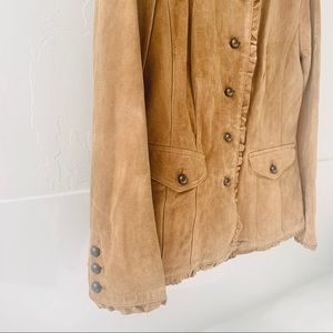J. Jill Jackets & Coats - J. Jill 100% genuine leather tan ruffle jacket S